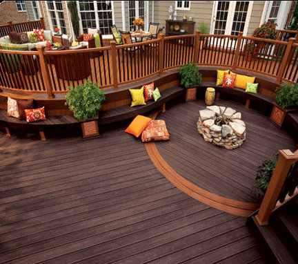 Woodland Brown And Sattle Trex Mesh Radius Deck